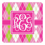 Pink & Green Argyle Square Decal (Personalized)
