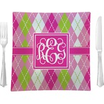 "Pink & Green Argyle Glass Square Lunch / Dinner Plate 9.5"" - Single or Set of 4 (Personalized)"