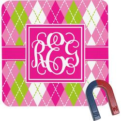 Pink & Green Argyle Square Fridge Magnet (Personalized)