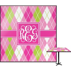 Pink & Green Argyle Square Table Top (Personalized)