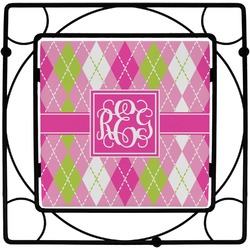 Pink & Green Argyle Square Trivet (Personalized)