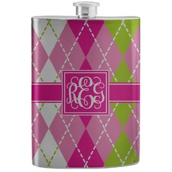 Pink & Green Argyle Stainless Steel Flask (Personalized)