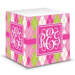 Pink & Green Argyle Sticky Note Cube (Personalized)
