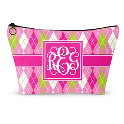 Pink & Green Argyle Makeup Bags (Personalized)