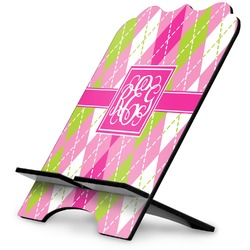 Pink & Green Argyle Stylized Tablet Stand (Personalized)