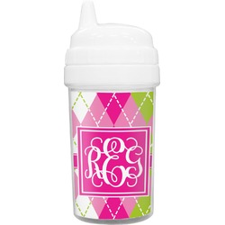 Pink & Green Argyle Toddler Sippy Cup (Personalized)