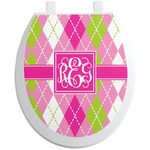 Pink & Green Argyle Toilet Seat Decal (Personalized)
