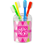 Pink & Green Argyle Toothbrush Holder (Personalized)