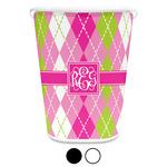 Pink & Green Argyle Waste Basket (Personalized)