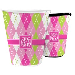 Pink & Green Argyle Waste Basket (Personalized)