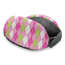 Pink & Green Argyle Travel Neck Pillow (Personalized)