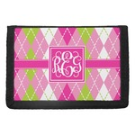 Pink & Green Argyle Trifold Wallet (Personalized)