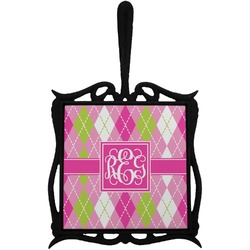Pink & Green Argyle Trivet with Handle (Personalized)