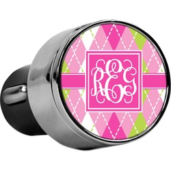 Pink & Green Argyle USB Car Charger (Personalized)