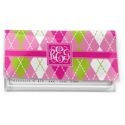 Pink & Green Argyle Vinyl Checkbook Cover (Personalized)