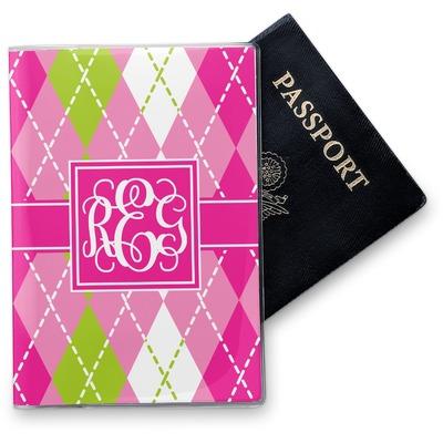 Pink & Green Argyle Vinyl Passport Holder (Personalized)
