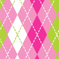 Pink & Green Argyle Wallpaper & Surface Covering