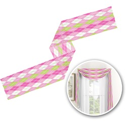 Pink & Green Argyle Window Sheer Scarf Valance (Personalized)