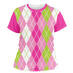 Pink & Green Argyle Women's Crew T-Shirt (Personalized)