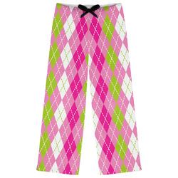 Pink & Green Argyle Womens Pajama Pants (Personalized)