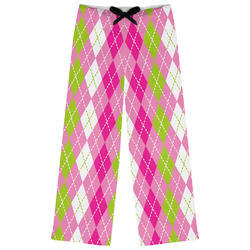 Pink & Green Argyle Womens Pajama Pants (Personalized)
