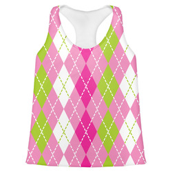 Pink & Green Argyle Womens Racerback Tank Top (Personalized)