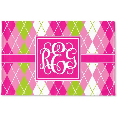 Pink & Green Argyle Woven Mat (Personalized)