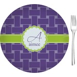 """Waffle Weave Glass Appetizer / Dessert Plates 8"""" - Single or Set (Personalized)"""