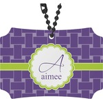 Waffle Weave Rear View Mirror Ornament (Personalized)