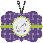 Waffle Weave Rear View Mirror Charm (Personalized)