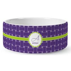 Waffle Weave Ceramic Dog Bowl (Personalized)