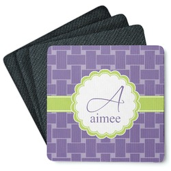 Waffle Weave Square Rubber Backed Coasters - Set of 4 (Personalized)
