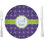 """Waffle Weave Glass Lunch / Dinner Plates 10"""" - Single or Set (Personalized)"""