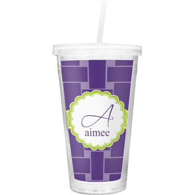 Waffle Weave Double Wall Tumbler with Straw (Personalized)
