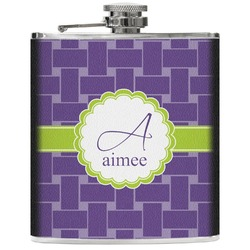 Waffle Weave Genuine Leather Flask (Personalized)