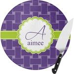 Waffle Weave Round Glass Cutting Board (Personalized)
