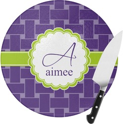 Waffle Weave Round Glass Cutting Board (Personalized)