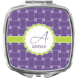 Waffle Weave Compact Makeup Mirror (Personalized)