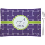 Waffle Weave Glass Rectangular Appetizer / Dessert Plate - Single or Set (Personalized)