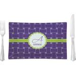 Waffle Weave Glass Rectangular Lunch / Dinner Plate - Single or Set (Personalized)