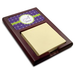 Waffle Weave Red Mahogany Sticky Note Holder (Personalized)