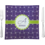 """Waffle Weave Glass Square Lunch / Dinner Plate 9.5"""" - Single or Set of 4 (Personalized)"""