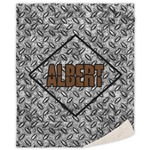 Diamond Plate Sherpa Throw Blanket (Personalized)