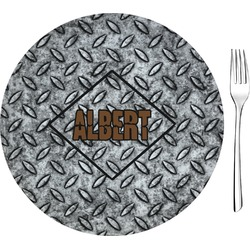 "Diamond Plate Glass Appetizer / Dessert Plates 8"" - Single or Set (Personalized)"