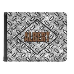Diamond Plate Genuine Leather Men's Bi-fold Wallet (Personalized)
