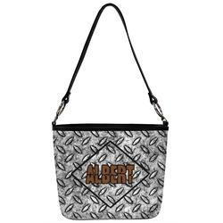 Diamond Plate Bucket Bag w/ Genuine Leather Trim (Personalized)