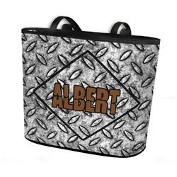 Diamond Plate Bucket Tote w/ Genuine Leather Trim (Personalized)