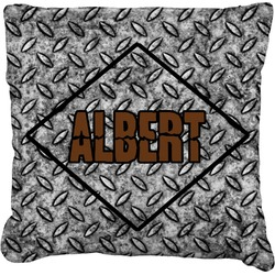 """Diamond Plate Faux-Linen Throw Pillow 16"""" (Personalized)"""