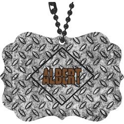 Diamond Plate Rear View Mirror Charm (Personalized)
