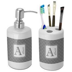 Diamond Plate Bathroom Accessories Set (Ceramic) (Personalized)